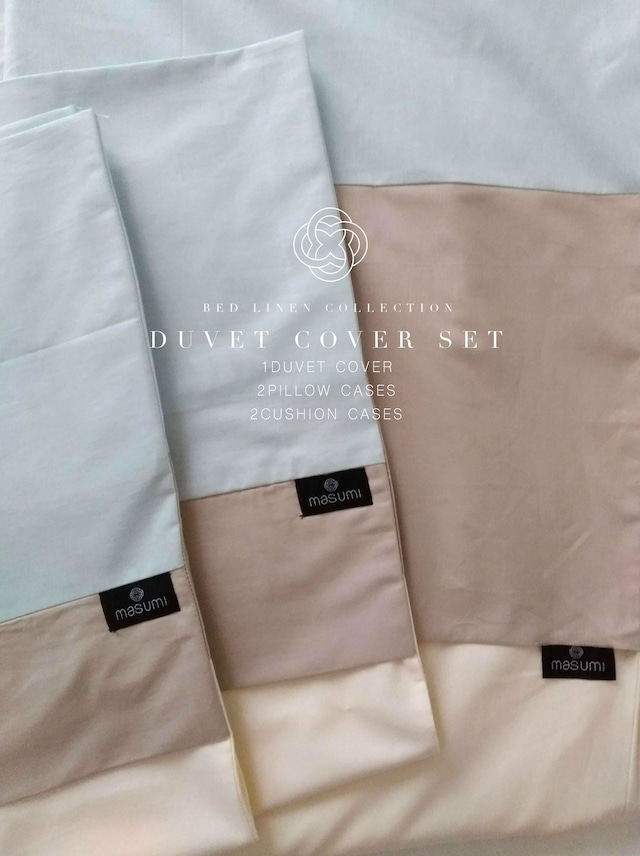 Linen100% Duvet cover set  Q/K Size ベッドリネンセット Q/Kサイズ 布団カバー / 枕カバー2