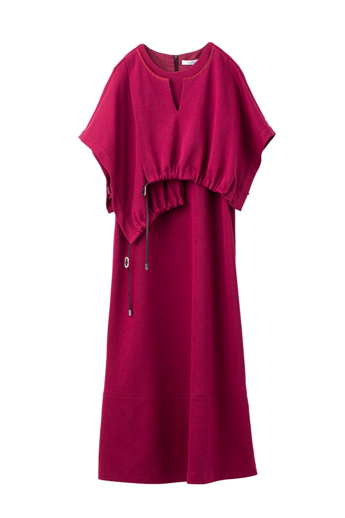 レイヤードギャザージャージードレス < レッド >