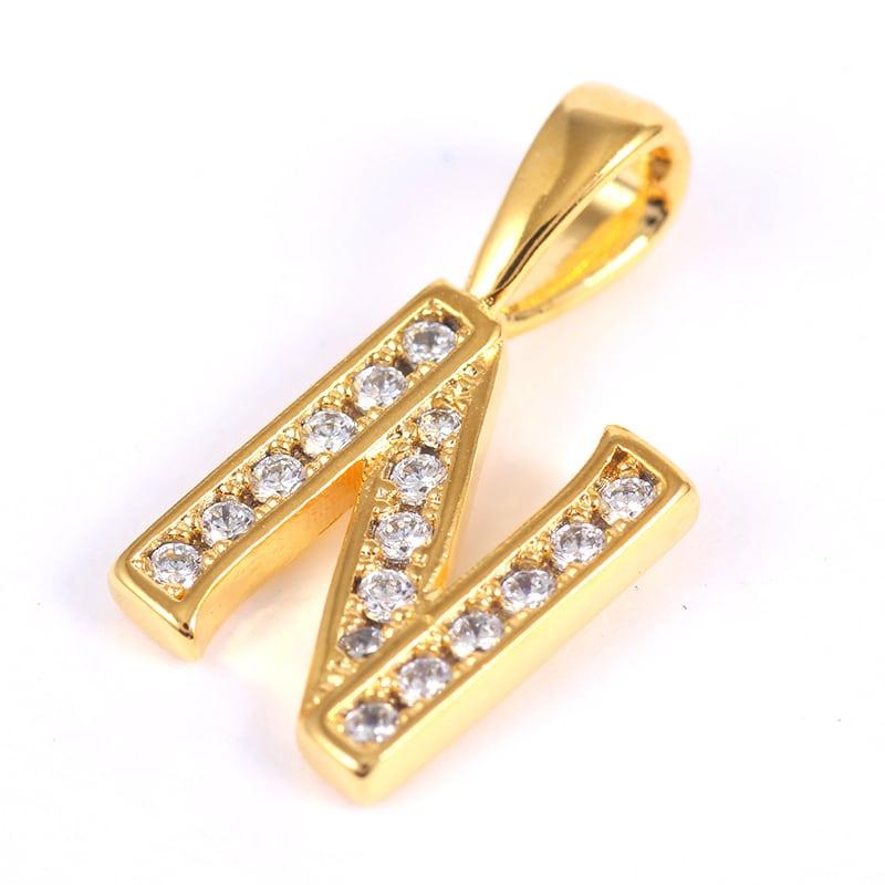 K18GP 【N】ダイヤモンドアルファベット パヴェ チャーム
