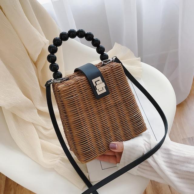 【バッグ】カジュアルハンドバック肩掛け差込錠草編みショルダーバッグ43176358
