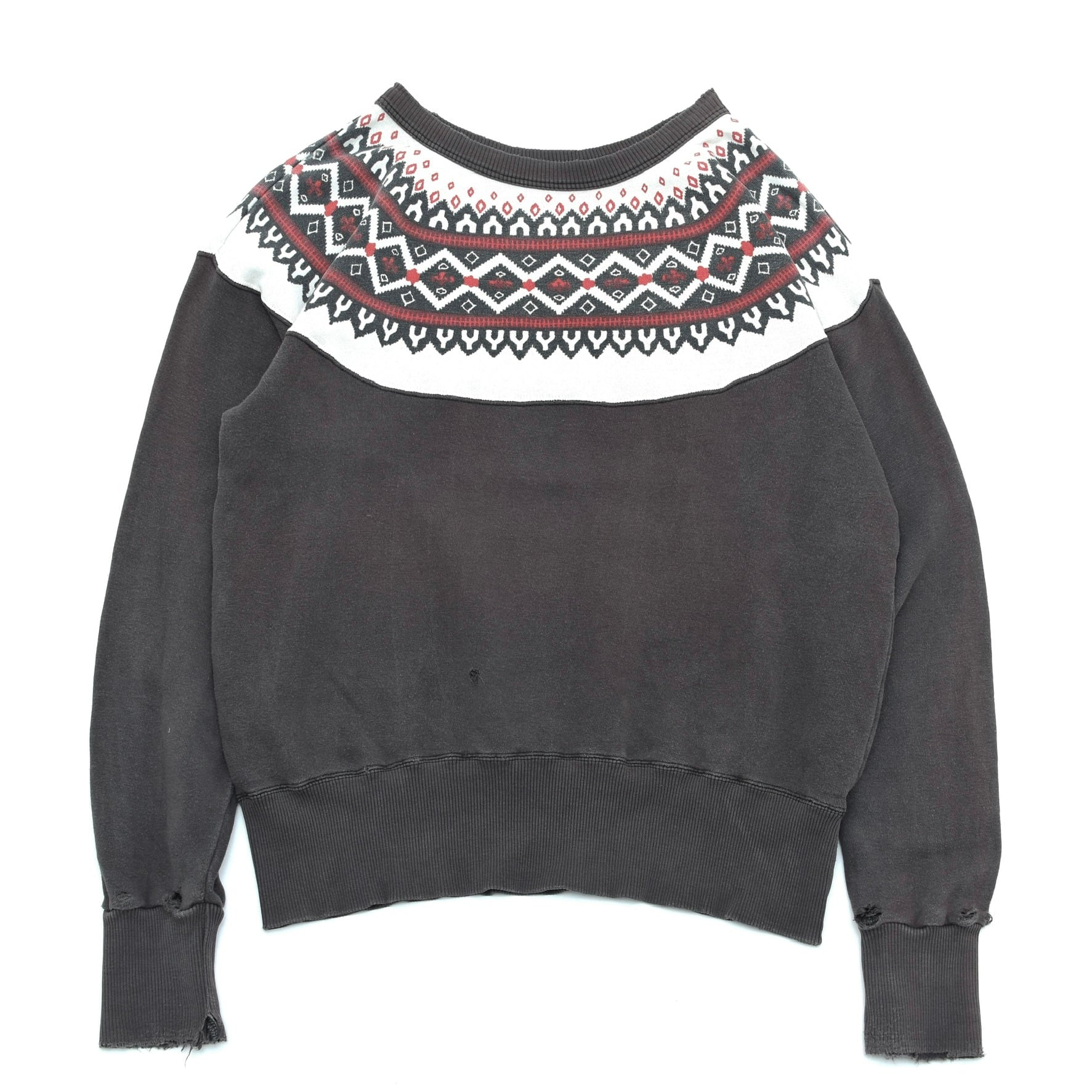 CABco.inc Snow pattern damage sweatshirt