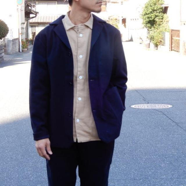 LOLO (ロロ) 綿ウール アンコン シャツジャケット ネイビー