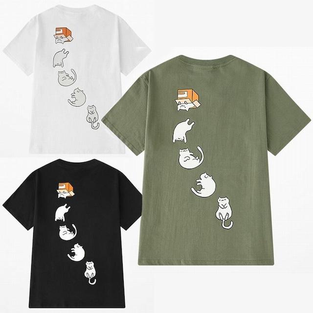 ユニセックス 半袖 Tシャツ メンズ レディース かわいい ダンボールから転げ落ちる猫 ネコ プリント オーバーサイズ 大きいサイズ ルーズ ストリート TBN-592088887814