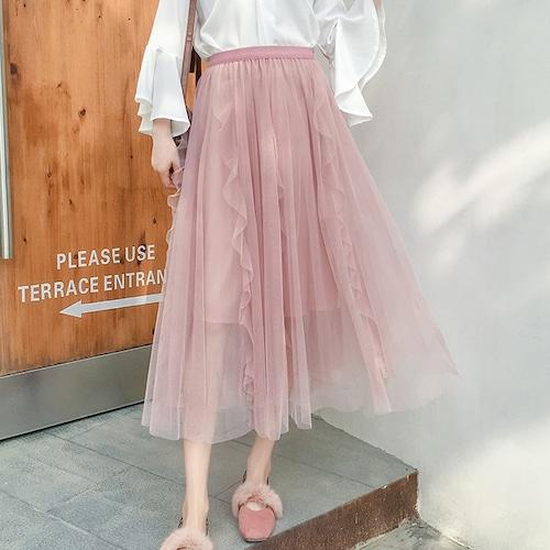 5色/チュールロングスカート ・18832