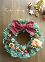 ゴールド&木の実のフォレストグリーンのクリスマスリース~ミドル