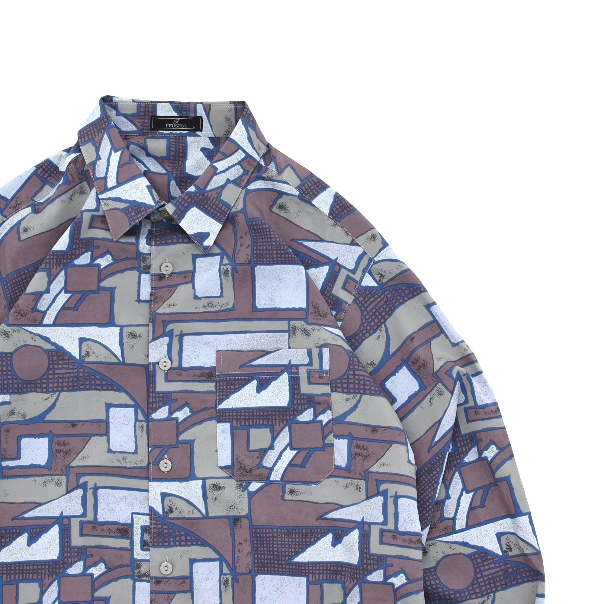 Geometric full pattern polyester shirt