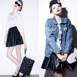 Cool*黒生地スカート♥ハリウッド Black