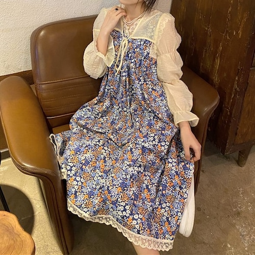 【2点セット】フラワーワンピ+ショート丈カーデ ・19217