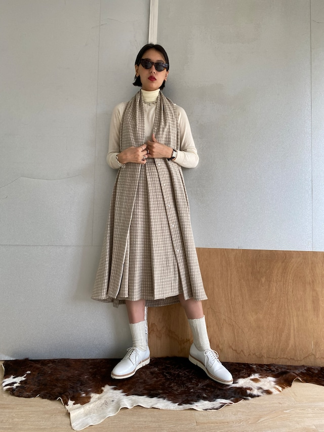 """Holterneck Dress """"""""Ice gray hound's-tooth check"""" khadi wool"""