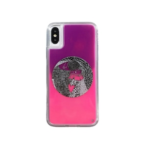ARTiFY iPhone X/Xs ネオンサンドケース クリムト キス 円形 ピンク/レッド AJ00495