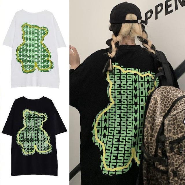 ユニセックス Tシャツ 半袖 クマちゃん ベアー レタープリント ラウンドネック オーバーサイズ ホワイト ブラック 韓国ファッション メンズ レディース カジュアル ストリートファッション TBN-644216065107