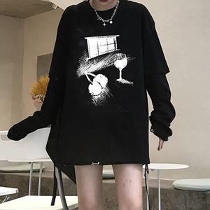 【トップス】 ラウンドネックルーズ取り外せるTシャツ52198267