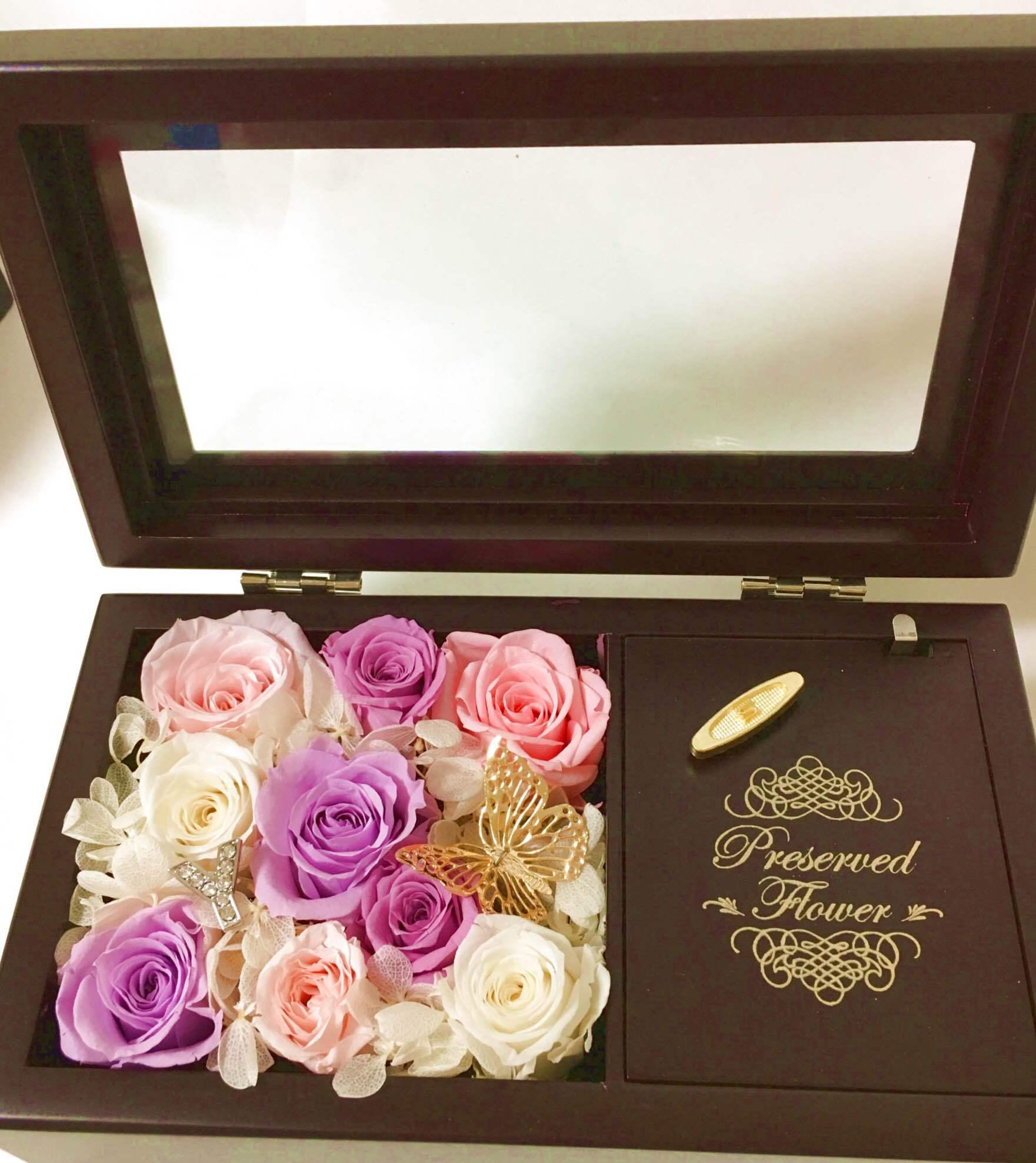 【お誕生日に♪】オルゴール フラワーアレンジ Purple&White【プレゼント】