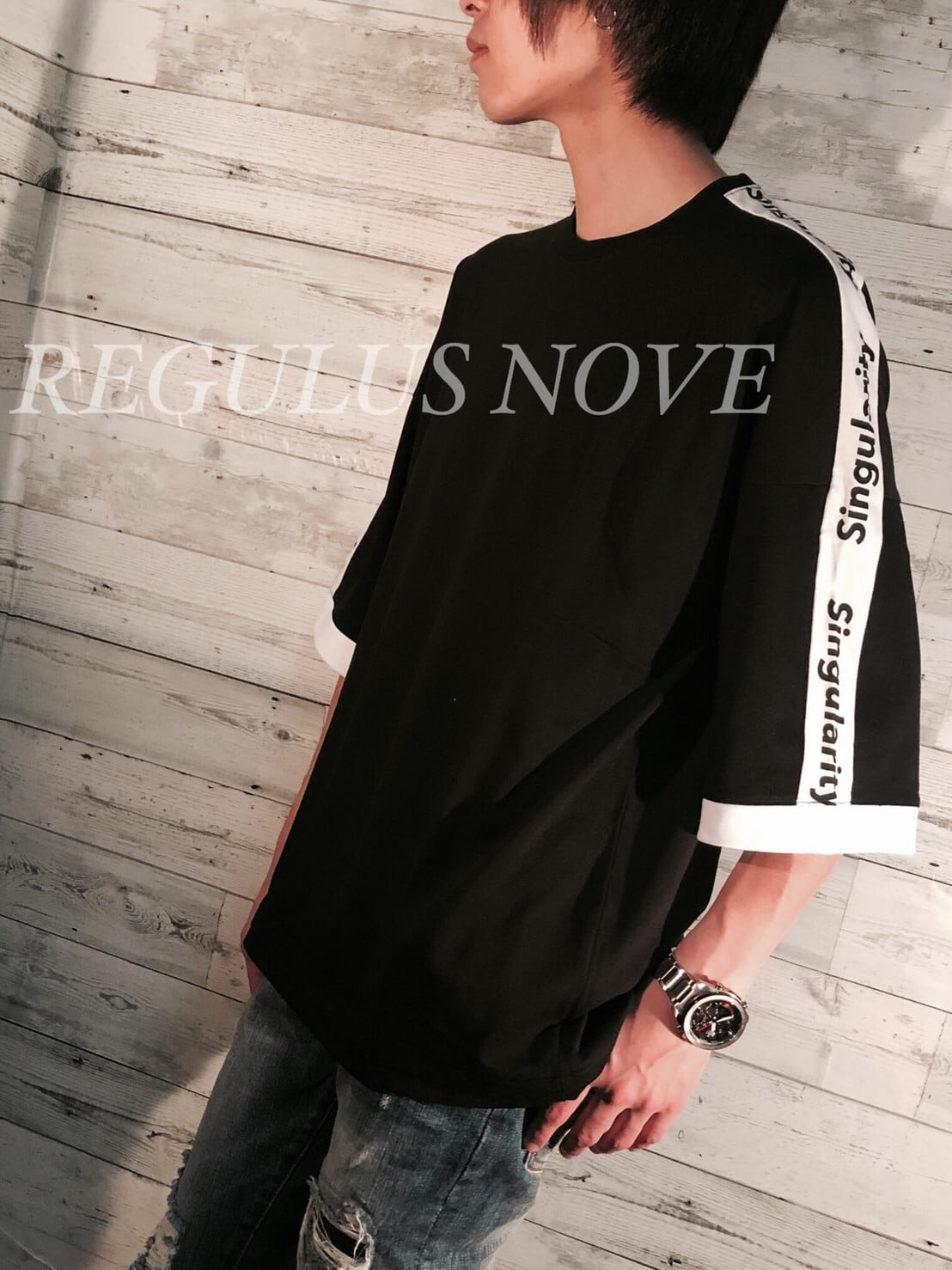REGULUS NOVE ドルマンスリーブラインBIGT BLACK ユニセックス レディース メンズ オーバーサイズ 大きいサイズ 派手 個性的 ストリート ロック