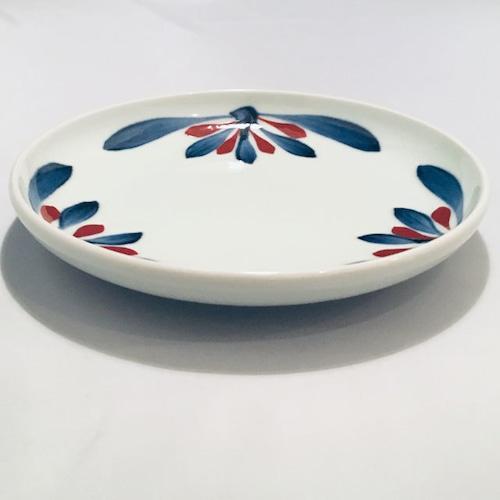 【砥部焼/梅山窯】6寸丸皿・切立(赤菊)