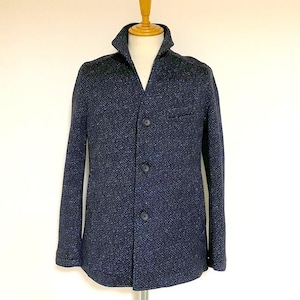 Knit Fleece Stand Collar Blouson Navy