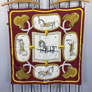 HERMES CARRES90 GRAND APPARAT LARGE SIZE SILK 100% SCARF MADE IN FRANCE/エルメスカレ90シルク100%大判スカーフ(盛装の馬)