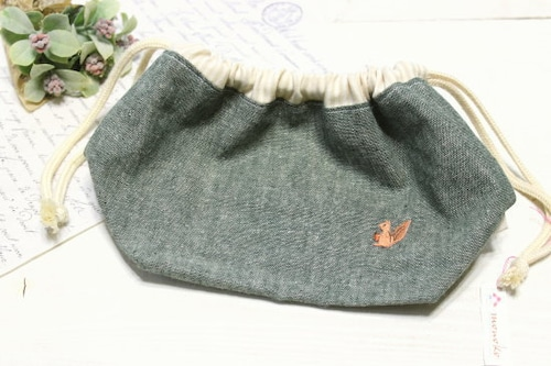お弁当袋*巾着 グリーン りす/monoko 型番:92