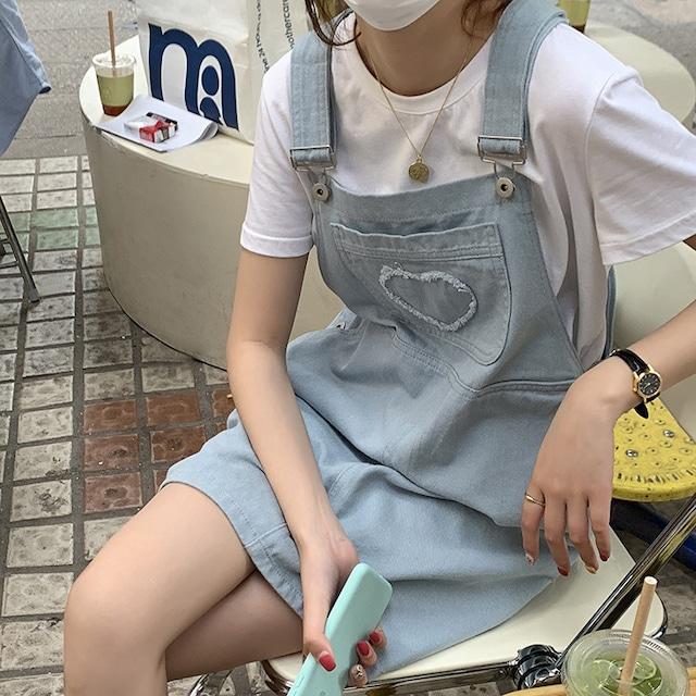 ハート刺繍サロペットスカート S3789