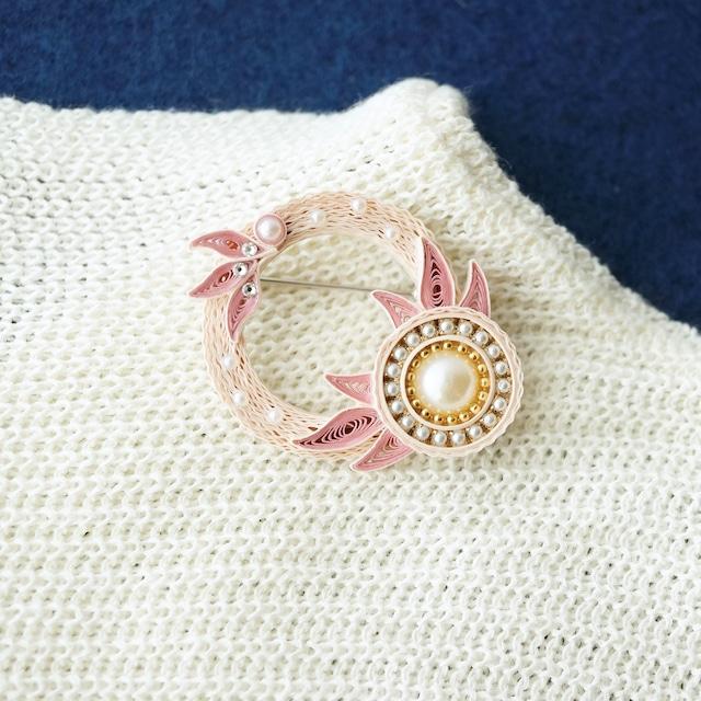 minamoノhanaブローチ [ピンク], 紙のペーパージュエリー, ペーパークイリングアクセサリー