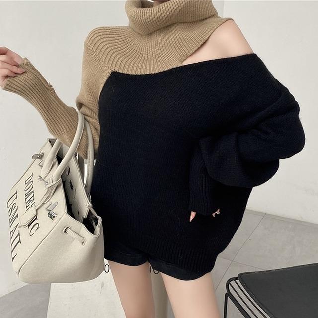 【トップス】セクシー 長袖配色 レディースファッション ハイネックニットセーター52947018
