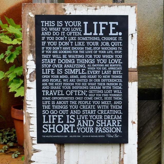 This is your life. Holstee マニフェストポスター♪小サイズ30.5cm×40.5cm  Black