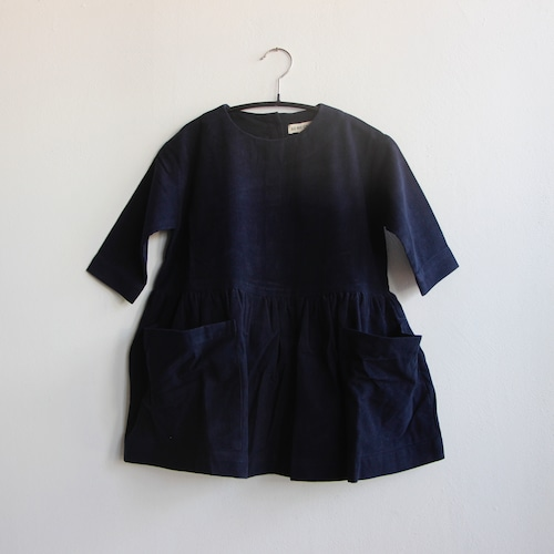 《AS WE GROW 2021AW》Pocket Dress long sleeve / navy corduroy