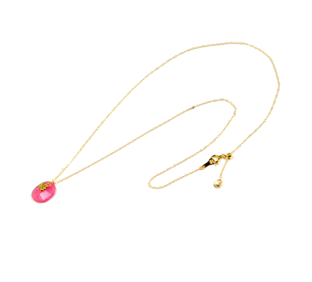 Stardust stone necklace(スターダストストーンネックレス)EMU-010ps  ピンクサファイア