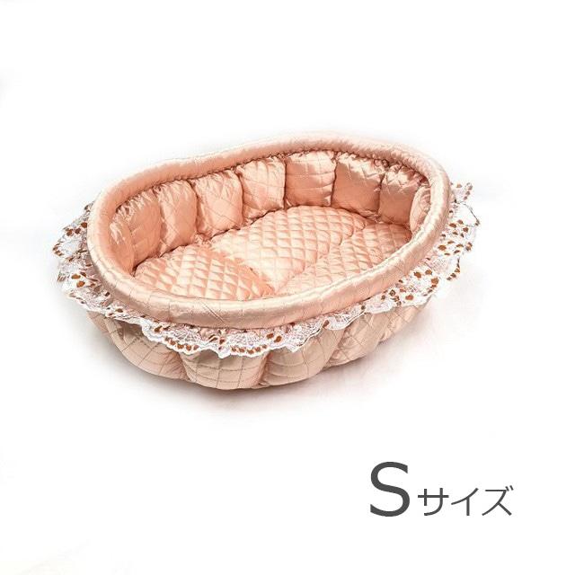 ふーじこちゃんママ手作り ぽんぽんベッドサテンサーモンピンク Sサイズ【PB4-013S】