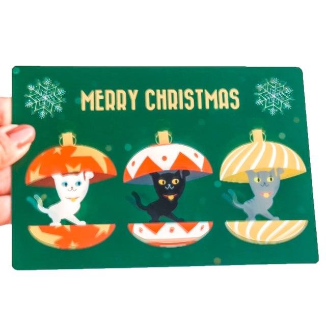 クリスマスカード ねこふりふり
