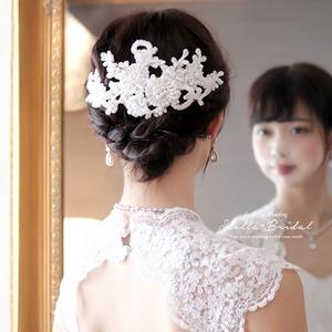 【受注生産品】ビーディングパールのクチュールレースヘッドドレス ウェディングヘアアクセサリー
