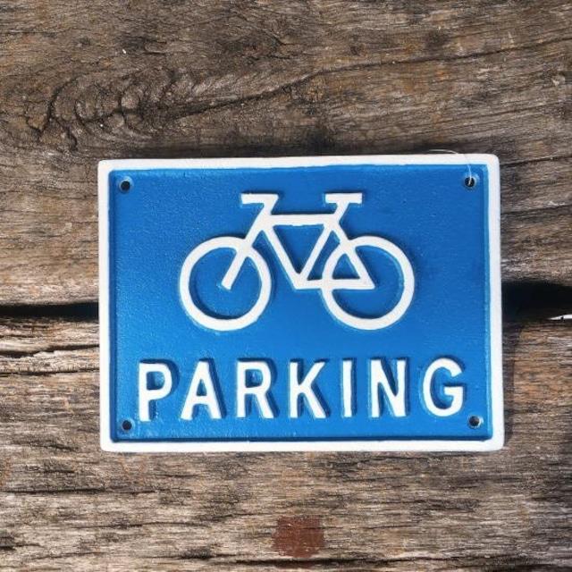 アイアンサインプレート Bicycle parking ブルー