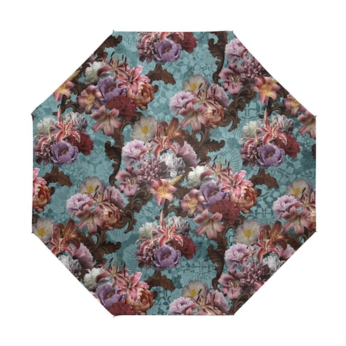芍薬牡丹百合 ブルー 折りたたみ日傘