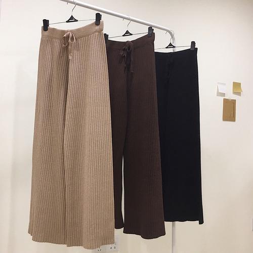【即納・送料無料】リブ ストレート ワイド パンツ B13