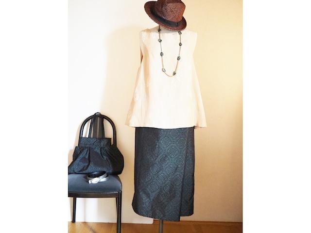 大島紬の筒ラップスカートとバッグのセット-着物(大島紬)から