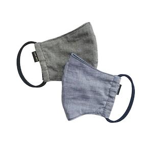 吸水速乾マスク2枚セット COOLMAX×オーガニックコットン日本製 オーガニックコットンマスク2色ブラック×ブルーセット