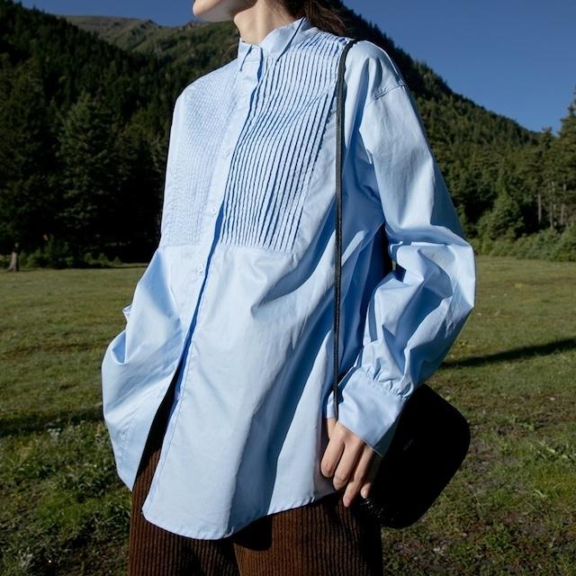 Organ pleats shirt(オルガンプリーツシャツ)b-422