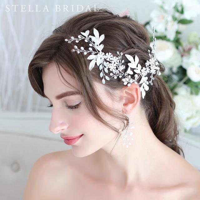 【受注生産品】SWAROVSKI使用 ホワイトオパールとリーフチャームの小枝ヘッドドレス ヴェラII