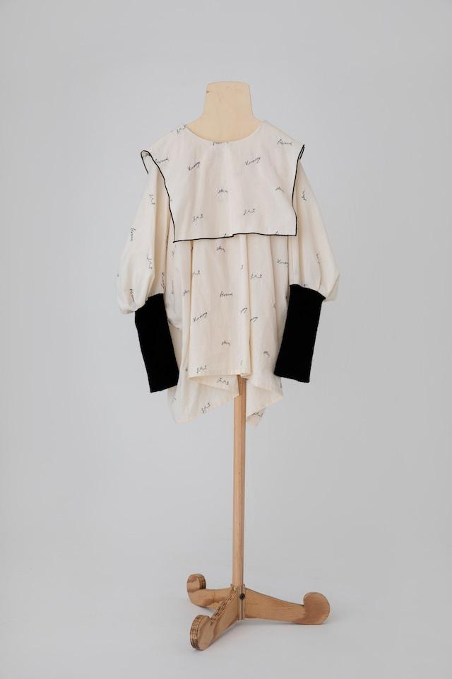【21AW】folkmade(フォークメイド)  embroidery rogo sailor シャツ palebeige×black(LL)大人