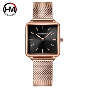 本革ストラップ日本クォーツムーブメントHM-108女性シンプルなデザインのトップの高級ブランド腕時計レディーススクエア腕時計108-H-WFF
