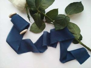 Navy Blue(手染め手裂きタイプ)1インチ ■木製スプール(ダークウッド色)付 ネイビー