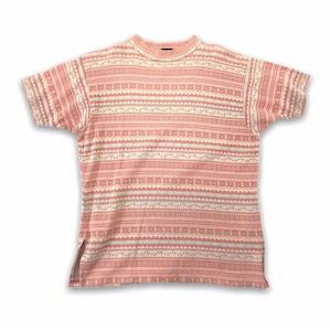 【jinglers】幾何学模様 ボーダー Tシャツ ピンク ヨーロッパ古着
