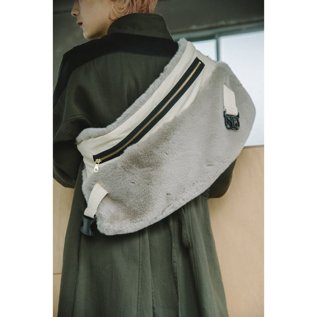 【RehersalL】ECO Fur BAG neck warmer (gray) /【リハーズオール】エコファーバッグ ネックウォーマー(グレー)