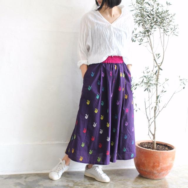 ミャンマーの手織り綿ギャザースカート【ダック柄ダークパープル】