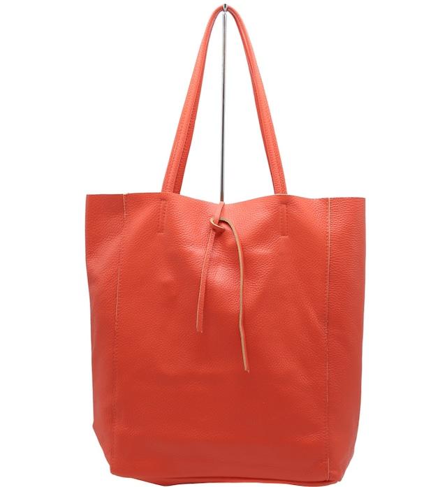 トートバッグ イタリア製 切りっぱなし 本革 オレンジ