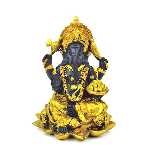 ガネーシャ 座像 L18086 高さ14.5cm ゴールド 金 ブラック 置物 夢を叶える象 金運アップ 開運 商売繁盛 現世利益
