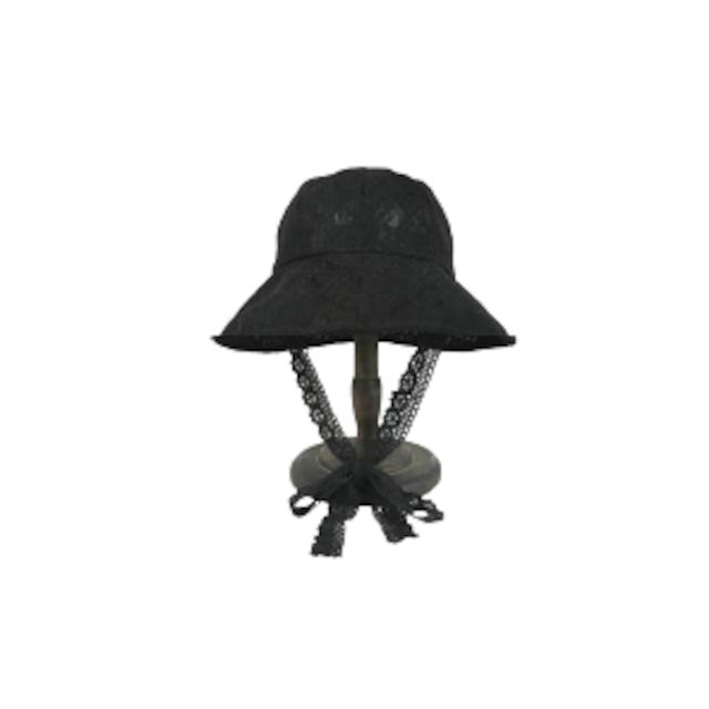 レースアンティークバケットハット(Black)