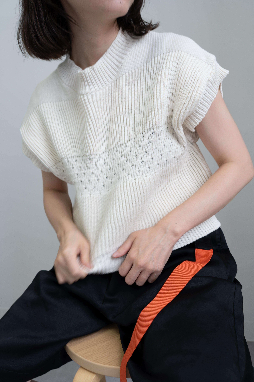 【受注】YUKI SHIMANE Tuck up Handknit vest