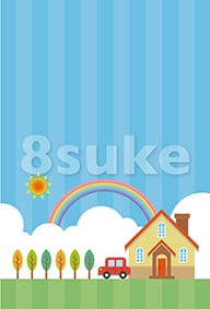 イラスト素材:青空と家と車(ベクター・JPG)