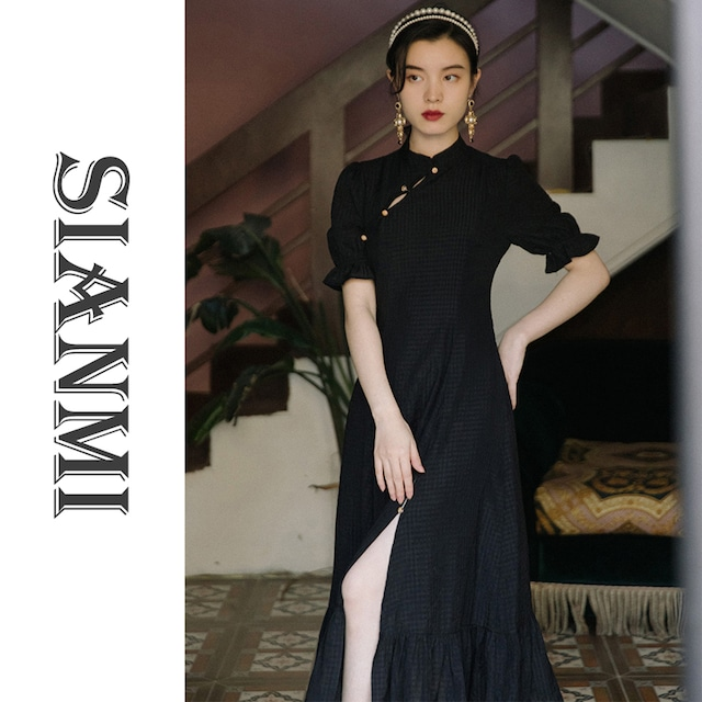 【SIANMIシリーズ】★チャイナ風ワンピース★ 着痩せ 改良型チャイナドレス Aライン ブラック 黒い